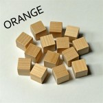 2cm wooden cubes - ORANGE. Pack of 100